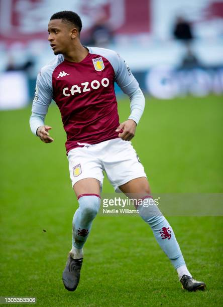 Ezri Konsa of Aston Villa in action during the Premier League match between Aston Villa and Leicester City at Villa Park on February 21, 2021 in...