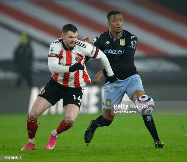 Ezri Konsa of Aston Villa in action during the Premier League match between Sheffield United and Aston Villa at Bramall Lane on March 03, 2021 in...