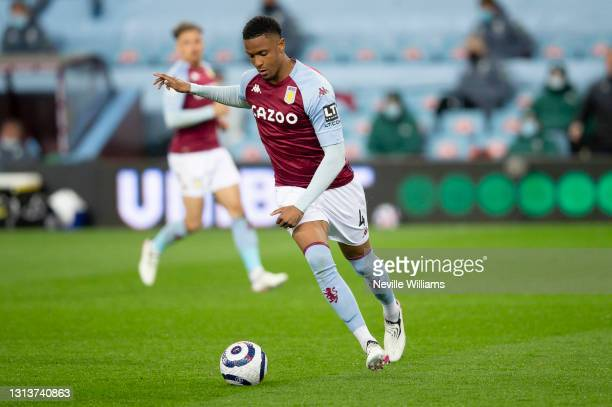 Ezri Konsa of Aston Villa in action during the Premier League match between Aston Villa and Manchester City at Villa Park on April 21, 2021 in...