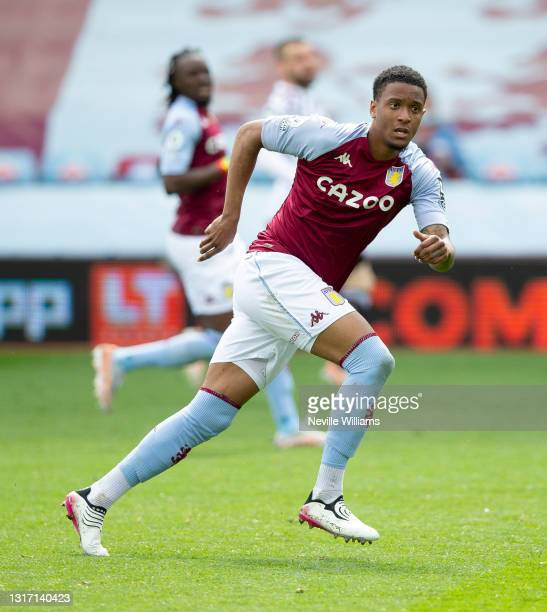 Ezri Konsa of Aston Villa in action during the Premier League match between Aston Villa and Manchester United at Villa Park on May 09, 2021 in...