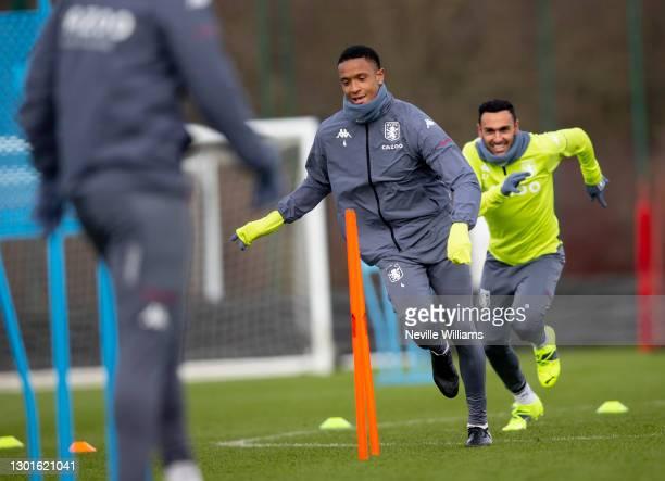 Ezri Konsa of Aston Villa in action during training session at Bodymoor Heath training ground on February 11, 2021 in Birmingham, England.