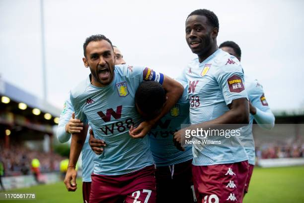 Ezri Konsa of Aston Villa scores for Aston Villa during the Carabao Cup second round match between Crewe Alexandra and Aston Villa at Gresty Road on...