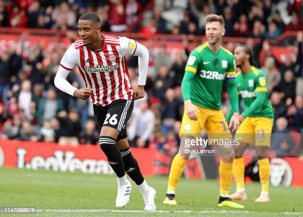 Ezri Konsa of Brentford turns to celebrate scoring during the Sky Bet Championship match between Brentford and Preston North End at Griffin Park on...