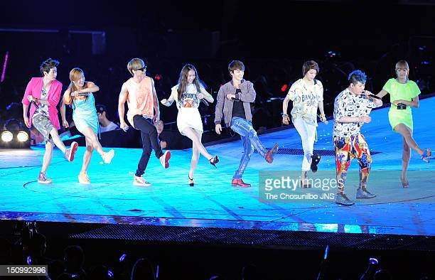 f and Super Junior perform during 'SM Town Live World Tour 3 In Seoul' at Jamsil Sports Complex on August 18 2012 in Seoul South Korea