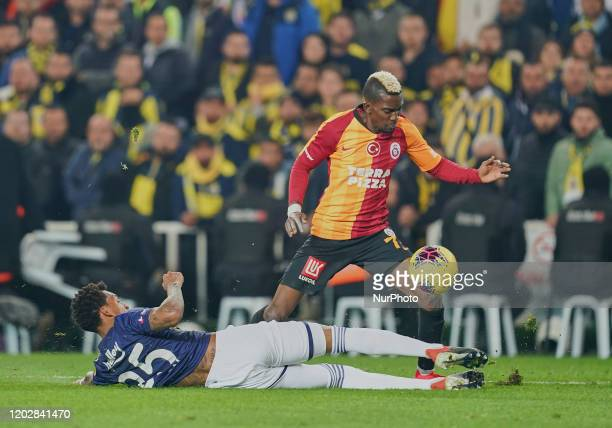 f32 committing penalty on Henry Onyekuru of Galatasaray SK during Fenerbahçe against Galatasaray on ükrü Saracolu Stadium Istanbul Turkey on February...