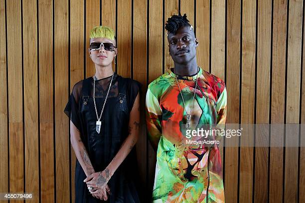 Fa Empel and Kirikoo Des attend the Collina Strada presentation during the MADE Fashion Week Spring 2015 at The Standard Hotel on September 9 2014 in...