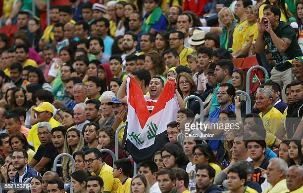 Fa Iraq during the men's soccer match bewtween Brazil and Iraq at Mane Garrincha Stadium during the Rio 2016 Olympic Games on August 7 2016 in...