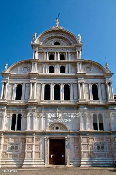 Façade de l''église San Giovanni in Bragora où futur pape Paul II et compositeur Antonio Vivaldi ont été baptisés Castello Venise Italie