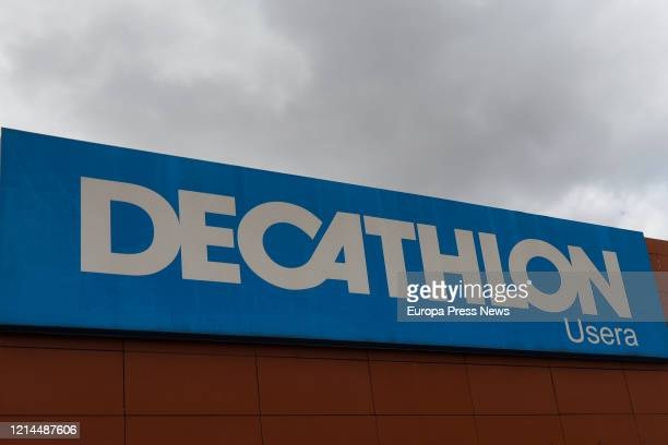 Façade of one of the Decathlon stores in Spain, located in the Usera neighbourhood of Madrid, totally closed after the declaration of the state of...