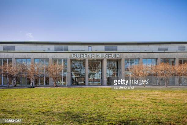 façade of queens museum - flushing queens stock pictures, royalty-free photos & images