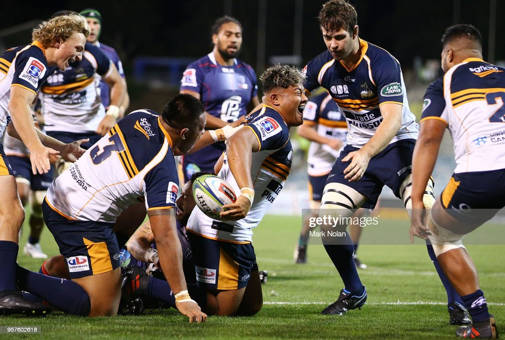 Faalelei Sione of the Brumbies celebrates scoring a try during the round 12 Super Rugby match between the Brumbies and the Rebels at GIO Stadium on May 12, 2018 in Canberra, Australia.