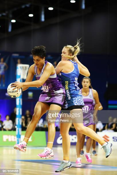 Fa'amu Ioane of the Northern Stars competes with Jamie Hume of the Mystics during the round two ANZ Premiership match between the Mystics and the...