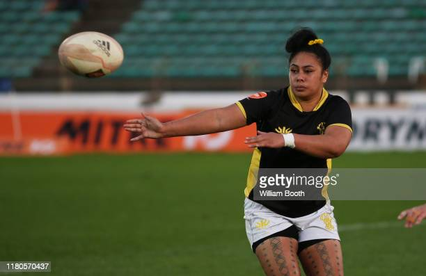 Fa'asua Makisi of Wellington passes during the round 7 Farah Palmer Cup match between Manawatu and Wellington at Central Energy Trust Arena on...