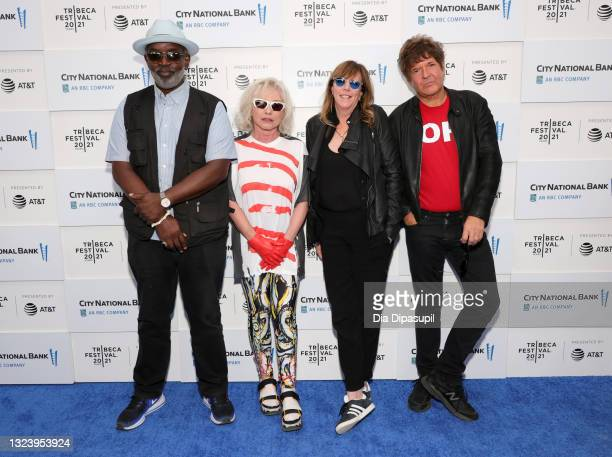 "Fab 5 Freddy, Debbie Harry, CEO and executive chair of Tribeca Enterprises Jane Rosenthal, and Clem Burke attend the ""Blondie: Vivir En La Habana""..."