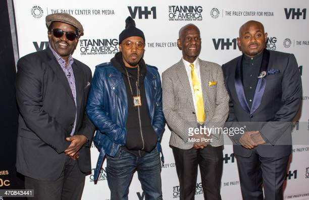 Fab Five Freddy Nas Dapper Dan and Steve Stoute attend 'The Tanning of America One Nation Under Hip Hop' at The Paley Center for Media on February 20...