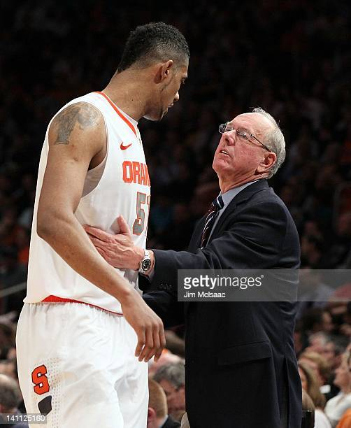 Fab Melo and head coach Jim Boeheim of the Syracuse Orange against the Connecticut Huskies during their quarterfinal game of the 2012 Big East Men's...