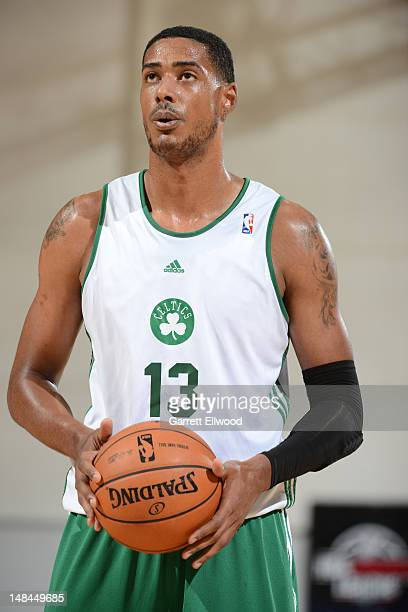 Fab Melo of the Boston Celtics shoots a free throw against the Atlanta Hawks during NBA Summer League on July 15 2012 at the Cox Pavilion in Las...