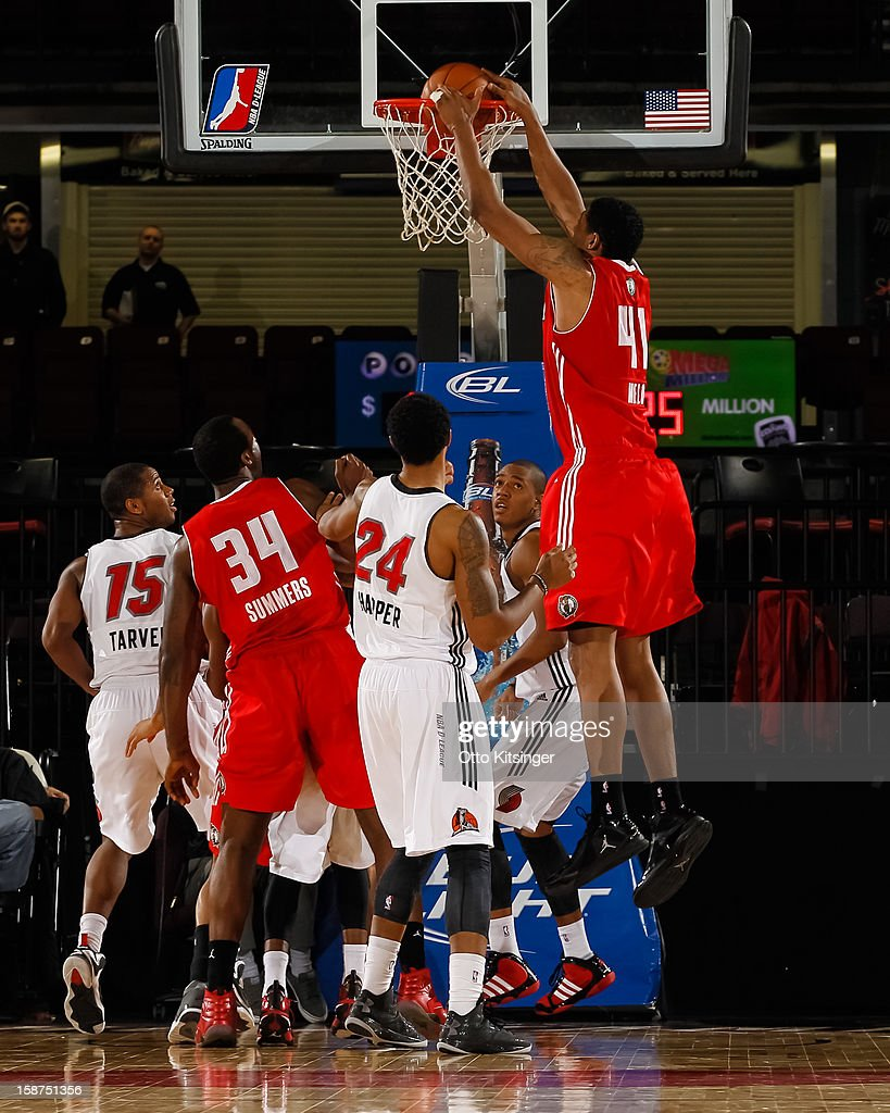Fab Melo #41 of the Maine Red Claws scores a basket on a rebound against the Idaho Stampede during the NBA D-League game on December 26, 2012 at CenturyLink Arena in Boise, Idaho. Melo was on assignment from the Boston Celtics.