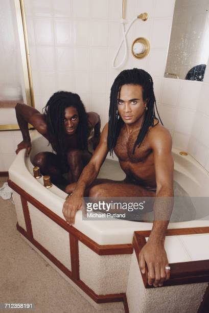 Fab Morvan and Rob Pilatus of German group Milli Vanilli pictured sharing a bath together in London on 27 September 1988