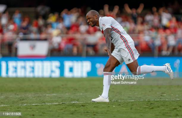 Fabao of of Sao Paulo FC celebrates his team second goal during a match against Barcelona for the Legends Cup 2019 final football match at Morumbi...