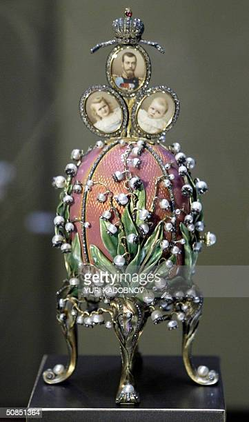 """Faberge 1898 """"Lilies of the Valley egg"""" displayed at an exhibition in the Kremlin in Moscow, 18 May 2004. A famed collection of nine Faberge imperial..."""