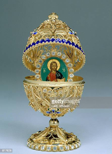 Faberge Egg from the Kremlin Museum collection in Moscow, Russia, March 2001. The eggs were first designed in 1884 by the artist Peter Carl Faberge...
