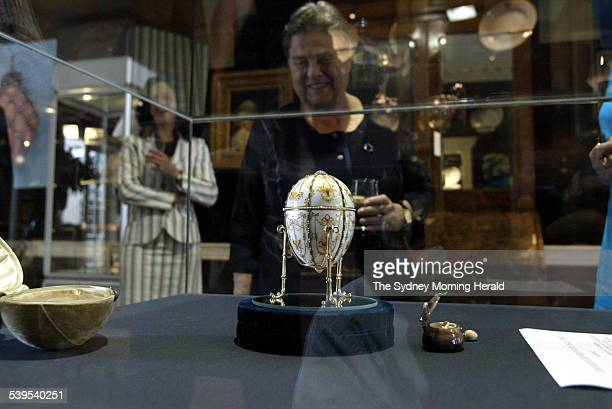 Faberge egg unveiled at Martyn Cook Antiquesin Sydney on 16 February 2005 The Kelch Bonbonniere Egg1903 from Faberge SMH NEWS Picture by PETER RAE