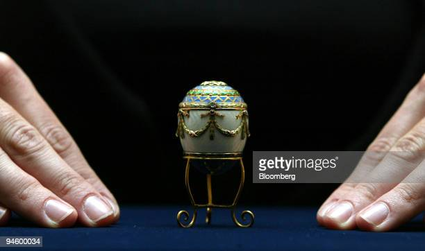 Faberge enamel and two colour gold egg bonbonniere estimated price 3050000 US$ 5997 is displayed at Christie's auction house in London UK Jan 19 2007...