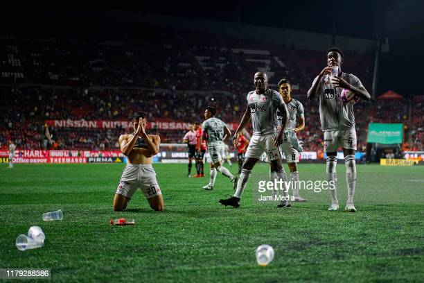 Faberth Balda of Atlas celebrates after scoring the second goal of his team during the 13th round match between Tijuana and Atlas as part of the...