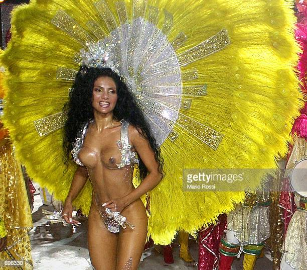 Fabia Borges godmother of the School of Samba Unidos da Tijuca participates in a Carnival parade February 11 2002 in Rio de Janeiro Brazil