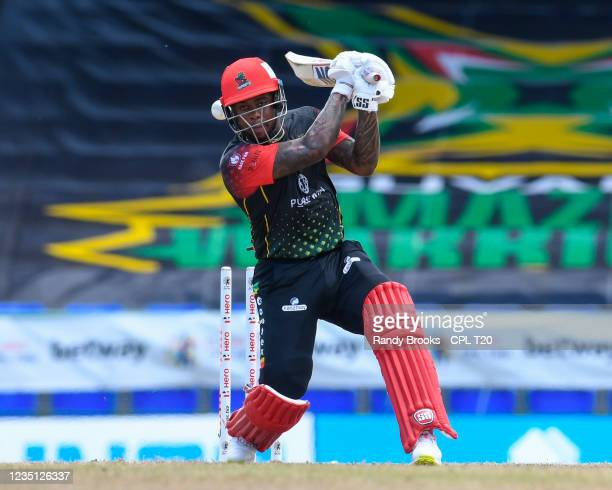 Fabian Allen of Saint Kitts & Nevis Patriots bowled by Andre Russell of Jamaica Tallawahs during the 2021 Hero Caribbean Premier League match 21...