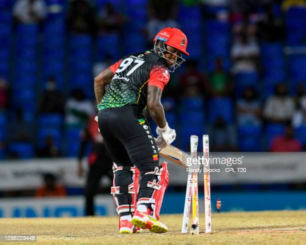 Fabian Allen of Saint Kitts & Nevis Patriots is bowled by Ali Khan of Trinbago Knight Riders during the 2021 Hero Caribbean Premier League match 30...