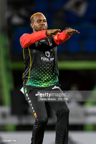 Fabian Allen of St. Kitts & Nevis Patriots celebrates the dismissal of Kyle Mayers of Barbados Royals during the 2021 Hero Caribbean Premier League...