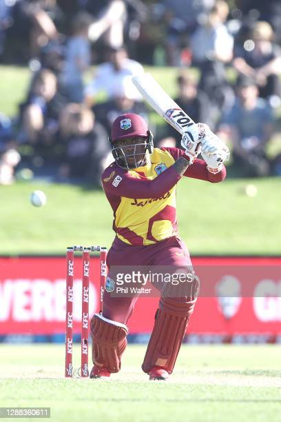 Fabian Allen of the West Indies bats during game two of the International Twenty20 series between New Zealand and the West Indies at Bay Oval on...