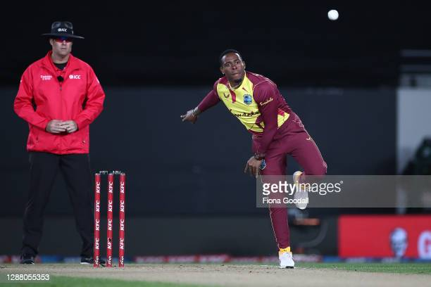 Fabian Allen of the West Indies bowls during game one of the International T20 series between New Zealand and the West Indies at Eden Park on...