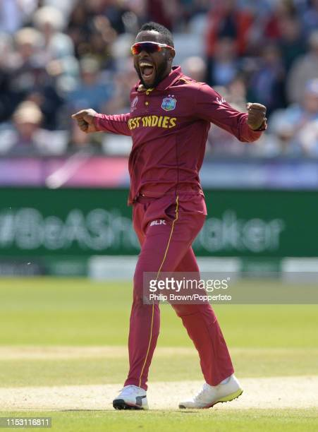 Fabian Allen of the West Indies celebrates after catching Kusal Mendis of Sri Lanka during the ICC Cricket World Cup Group Match between Sri Lanka...