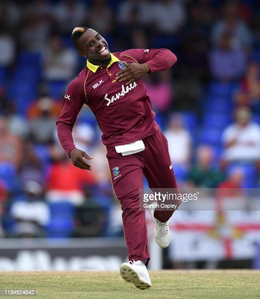 Fabian Allen of the West Indies celebrates dismissing Joe Denly of England during the 2nd Twenty20 International match between England and West...