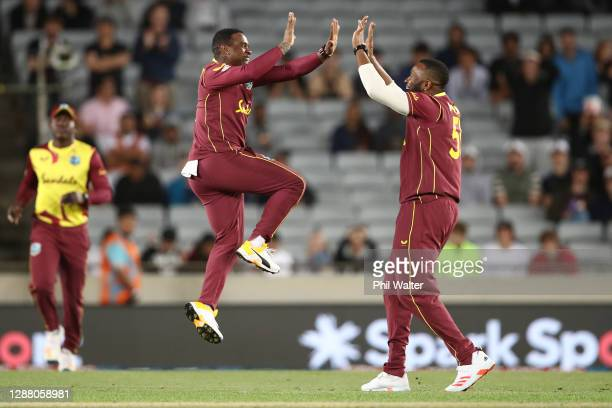 Fabian Allen of the West Indies celebrates his run out of Ross Taylor during game one of the International T20 series between New Zealand and the...