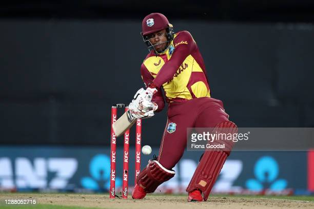 Fabian Allen of the West Indies takes a shot during game one of the International T20 series between New Zealand and the West Indies at Eden Park on...