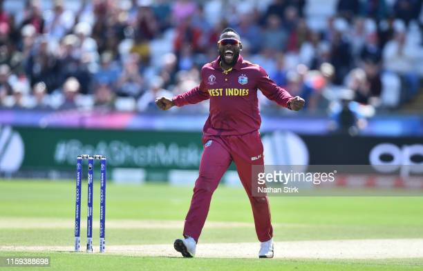 Fabian Allen of West Indies celebrates as he gets Kusal Mendis of Sri Lanka out during the Group Stage match of the ICC Cricket World Cup 2019...