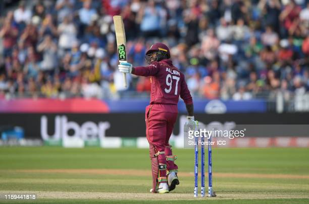 Fabian Allen of West Indies celebrates his half century during the Group Stage match of the ICC Cricket World Cup 2019 between Sri Lanka and West...