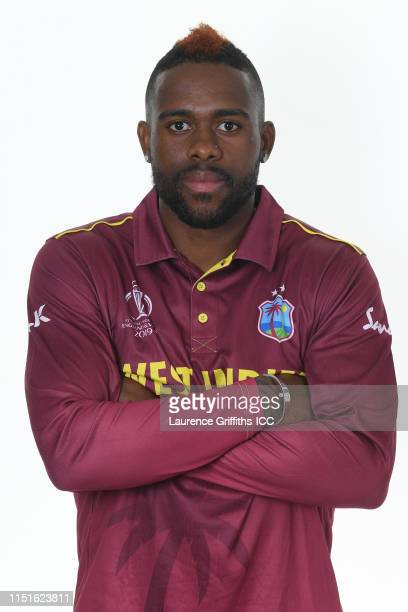 Fabian Allen of West Indies poses for a portrait prior to the ICC Cricket World Cup 2019 at The Radisson Blu Hotel on May 25, 2019 in Bristol,...