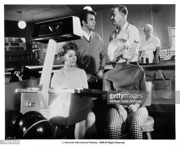Fabian and Diane McBain at a bowling alley in a scene from the film 'Maryjane' 1968