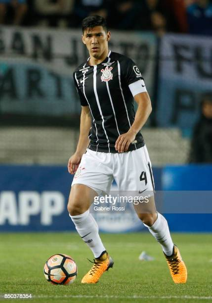 Fabian Balbuena of Corinthians drives the ball during a second leg match between Racing Club and Corinthians as part of round of 16 of Copa CONMEBOL...