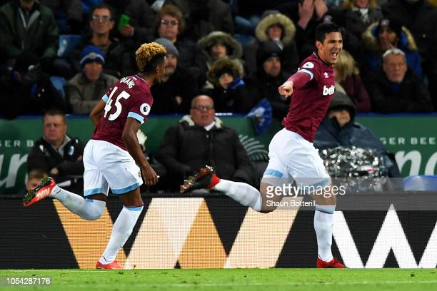 Fabian Balbuena of West Ham United celebrates after scoring his team's first goal during the Premier League match between Leicester City and West Ham...