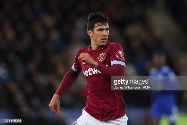 Fabian Balbuena of West Ham United during the Premier League match between Leicester City and West Ham United at The King Power Stadium on October 27...