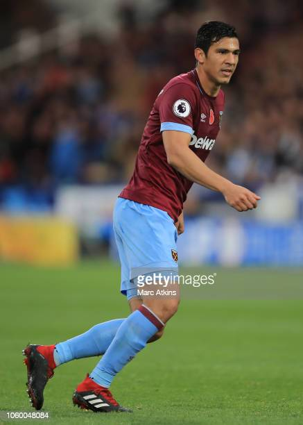 Fabian Balbuena of West Ham United during the Premier League match between Huddersfield Town and West Ham United at John Smith's Stadium on November...