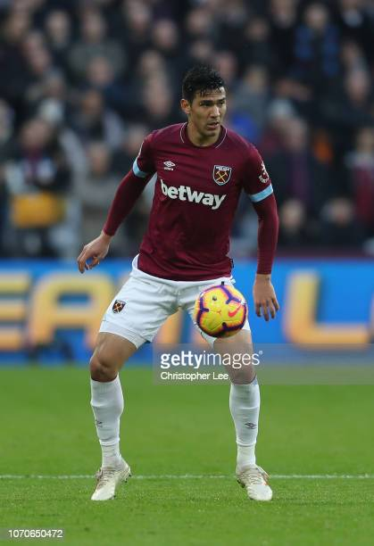 Fabian Balbuena of West Ham United during the Premier League match between West Ham United and Crystal Palace at London Stadium on December 8 2018 in...