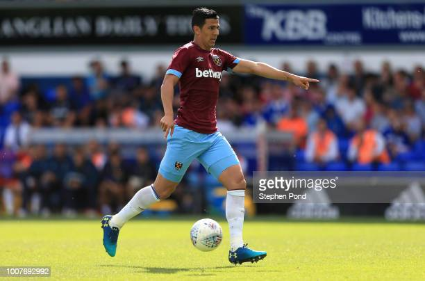 Fabian Balbuena of West Ham United during the preseason friendly match between Ipswich Town and West Ham United at Portman Road on July 28 2018 in...