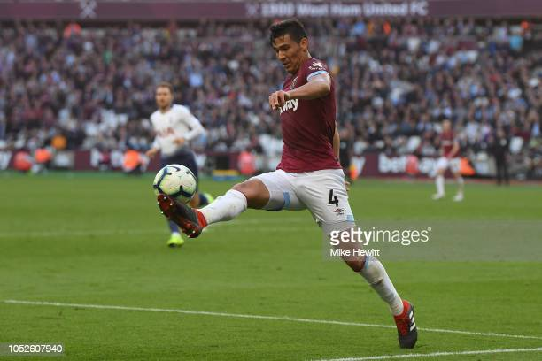 Fabian Balbuena of West Ham United in action during the Premier League match between West Ham United and Tottenham Hotspur at London Stadium on...